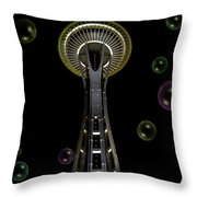 Space Needle With Bubbles 2 Throw Pillow