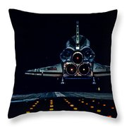 Space Shuttle Night Landing Throw Pillow