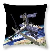 Space Station In Orbit Around Earth Throw Pillow