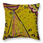 Spaceship Dog Graffiti Throw Pillow