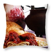 Spaghetti And Meatballs Throw Pillow by Camille Lopez