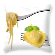 Spaghetti And Ravioli On Forks White Background Throw Pillow