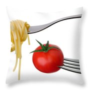 Spaghetti And Tomato On Forks Isolated Throw Pillow