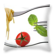 Spaghetti Basil And Tomato On Forks Isolated Throw Pillow
