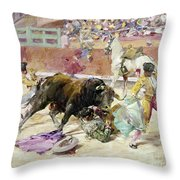 Spain - Bullfight C1900 Throw Pillow
