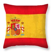 Spain Flag Vintage Distressed Finish Throw Pillow