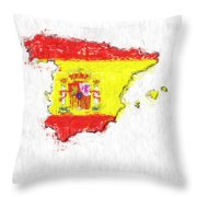 Spain Painted Flag Map Throw Pillow