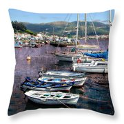 Boats In Spain Series 26 Throw Pillow