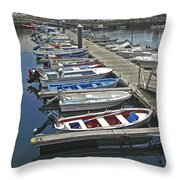 Row Boats In Spain Series 27 Throw Pillow