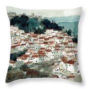 Spanish Hillside Village Throw Pillow