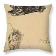Spaniel And Chow, 1930, Illustrations Throw Pillow