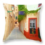 Spanish Alleyway Throw Pillow