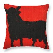 Spanish Black Bull Throw Pillow