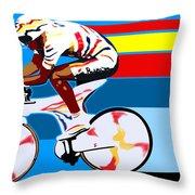 spanish cycling athlete illustration print Miguel Indurain Throw Pillow