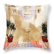 Spanish Patio 03 Throw Pillow