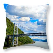 Spanning The Hudson River Throw Pillow