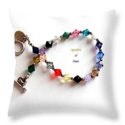 Sparkles Of Hope Cancer Bracelet Throw Pillow by Barbara Griffin