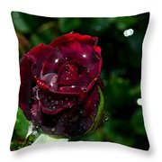 Sparkling Red Rose Throw Pillow by Camille Lopez
