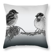 Sparrow Digital Art Throw Pillow