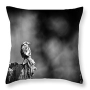 Sparrow In Black And White Throw Pillow