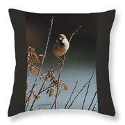 Sparrow On A Twig Throw Pillow