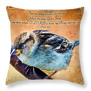 Sparrow With Verse And Painted Effect Throw Pillow