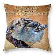 Sparrow With Verse Throw Pillow