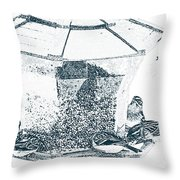 Sparrows In Charcoal Throw Pillow
