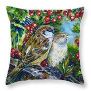 Sparrows On The Hawthorn Throw Pillow