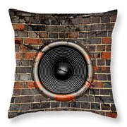 Speaker On A Cracked Brick Wall Throw Pillow