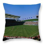 Spectators Watching A Soccer Match, Usa Throw Pillow