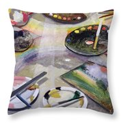 Spectrum Of Artists Palettes, 2003 Throw Pillow