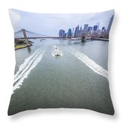 Speed Boats And Barge At East River In Front Of The Brooklyn Bridge And Manhattan Skyline Throw Pillow