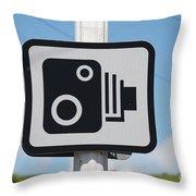 Speed Camera Sign Folkestone Throw Pillow