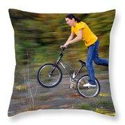 Speed - Monika Hinz Doing A Wheelie On Her Bmx Flatland Bike Throw Pillow