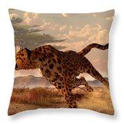 Speeding Cheetah Throw Pillow by Daniel Eskridge