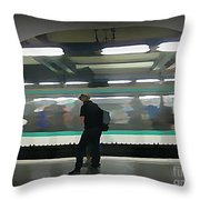 Speeding Subway Train Throw Pillow