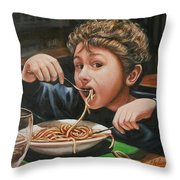 Spaghetti Boy Throw Pillow