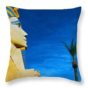 Sphinx And Palm Trees Las Vegas Throw Pillow