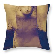 Sphinx Statue Blue Yellow And Lavender Usa Throw Pillow