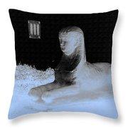 Sphinx Statue Three Quarter Profile Blue Glow Usa Throw Pillow