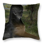 Sphinx Statue Three Quarter Profile Solar Usa Throw Pillow