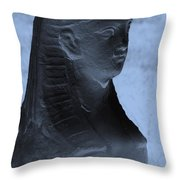 Sphinx Statue Torso Blue And Gray Usa Throw Pillow