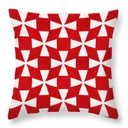 Spice Twirl- Red And White Pattern Throw Pillow by Linda Woods