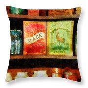 Spices On Shelf Throw Pillow by Susan Savad