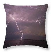 Spider Lightning Over Charleston Harbor Throw Pillow