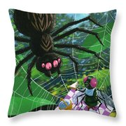 Spider Picnic Throw Pillow by Martin Davey