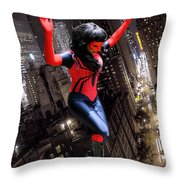 Spider Gal Leaping Throw Pillow