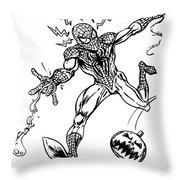 Spidey Dodges A Pumpkin Bomb Throw Pillow