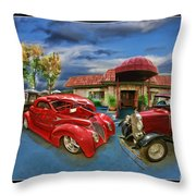 Spin A Yarn Car Show Throw Pillow